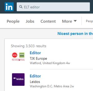 LinkedIin jobs search ELT publishing writer editor
