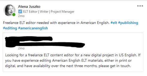ELT jobs Linked in editor writer Juszko Atena